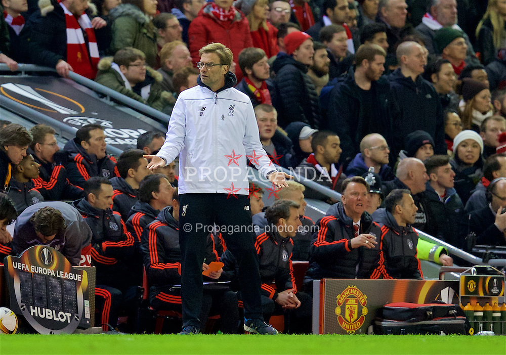 LIVERPOOL, ENGLAND - Thursday, March 10, 2016: Liverpool's manager Jürgen Klopp during the UEFA Europa League Round of 16 1st Leg match against Manchester United at Anfield. (Pic by David Rawcliffe/Propaganda)