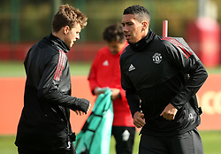 Manchester United's Chris Smalling and Victor Lindelof - Mandatory by-line: Matt McNulty/JMP - 11/09/2017 - FOOTBALL - AON Training Complex - Manchester, England - Manchester United v FC Basel - Press Conference & Training - UEFA Champions League - Group A