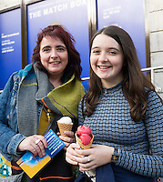 22/07/2015 repro free Caroline Donohue and Abaigh Donohue from Corofin at the Ulster Bank sponsored evening at The Galway International Arts Festival&rsquo;s production of Frank McGuinnesses&rsquo;  The Match Box, starring Cathy Belton At the Town Hall Theatre. Photo:Andrew Downes.<br /> xposure
