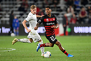 SYDNEY, AUSTRALIA - JULY 20: Western Sydney Wanderers player Kwame Yeboah (27) looks for a team mate during the club friendly football match between Leeds United and Western Sydney Wanderers FC on July 20, 2019 at Bankwest Stadium in Sydney, Australia. (Photo by Speed Media/Icon Sportswire)