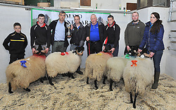 Prize Winners for Ram Lambs at Mayo Connemara Blackface Ram Sale at the Aurivo Mart Ballinrobe 2nd Dean Kerrigan, Cloughbrack, John Noonan presenting 1st Place Kevin Moran Newport, Stephen King Roundstone Show Judge, 3rd Padraig Kerrigan Cloughbrack  4th John McGing Killawalla and 5th Noreen Cafferkey Tonranny. Pic Conor McKeown
