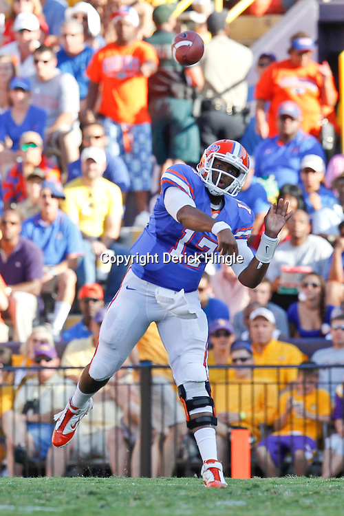 October 8, 2011; Baton Rouge, LA, USA; Florida Gators quarterback Jacoby Brissett (17) against the LSU Tigers during the second half at Tiger Stadium. LSU defeated Florida 41-11. Mandatory Credit: Derick E. Hingle-US PRESSWIRE / © Derick E. Hingle 2011