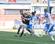 16th September 2017, Dens Park, Dundee, Scotland; Scottish Premier League football, Dundee versus St Johnstone; Dundee's A-Jay Leitch-Smith scores his second goal of the match for 2-0