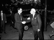 New Israeli Ambassador Meets Jewish Community.(T6)..1989..18.09.1989..09.18.1989..18th September 1989..The newly appointed Israeli Ambassador to Ireland,.Mr Yoav Biran, met with the Jewish Community in Ireland at the Israeli Embassy at Ballsbridge Dublin...Israeli Ambassador to Ireland, Yoav Biran (L),is pictured being greeted by an embassy official as he arrives to take up his position.