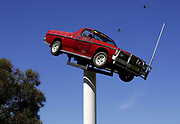"""A ute sits on a pedestal in the town of Deniliquin, site of the annual Ute Muster, in Deniliquin, Australia. A """"ute"""" is a term used in Australia for a utility vehicle, popular in the rural areas and used for farming and other work needs."""