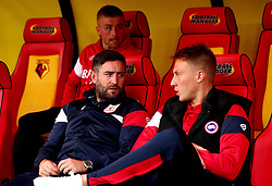 Bristol City head coach Lee Johnson talks with new signing Cauley Woodrow - Mandatory by-line: Robbie Stephenson/JMP - 22/08/2017 - FOOTBALL - Vicarage Road - Watford, England - Watford v Bristol City - Carabao Cup