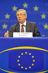 Jean-Claude Juncker, Luxembourg's prime minister, and president of Eurogroup, speaks during a news conference following the Eurogroup meeting in Brussels, Monday Jan. 18, 2009. (Photo © Jock Fistick)