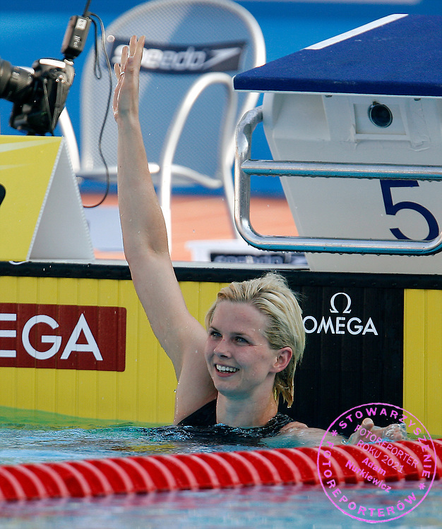 ROME 31/07/2009.13th Fina World Championships.Women's 100m Freestyle - Final.Britta Steffen of Germany celebrates after winning and setting a world record in the women's 100m freestyle swimming final at the World Championships.photo: Piotr Hawalej / WROFOTO