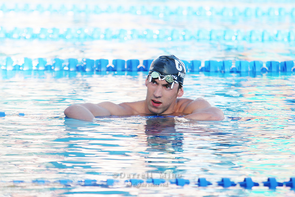 Aug 5, 2006; Irvine, CA, USA;  USA Swimming..Day 5 of the 2006 Conoco Phillips National Championships at the William Woollett Aquatics Center...Michael Phelps after finishing second in the Men's 200 meter backstroke...Photo credit: Darrell Miho