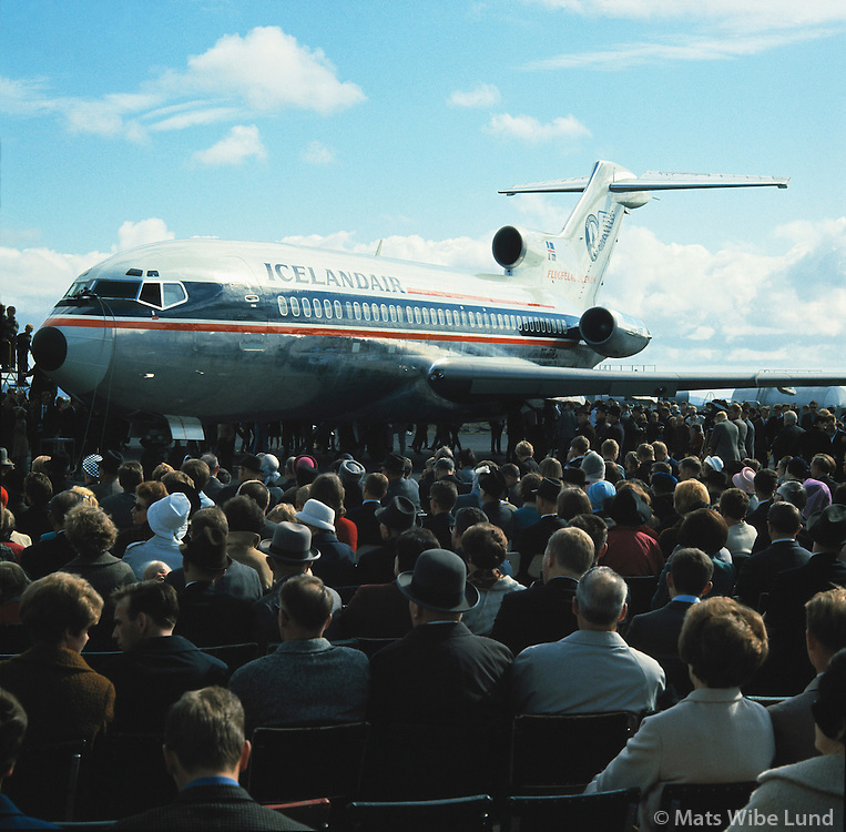 Gullfaxi B-727, first jet aeroplane belonging to Icelanders, .greeted by the crowd on Reykjavik airport after its inogural flight from Seatle USA