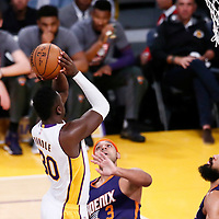 06 November 2016: Los Angeles Lakers forward Julius Randle (30) goes for the jump shot over Phoenix Suns forward Jared Dudley (3) during the LA Lakers 119-108 victory over the Phoenix Suns, at the Staples Center, Los Angeles, California, USA.