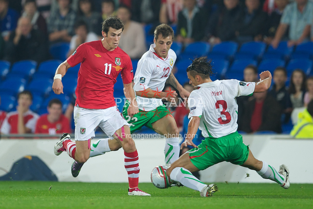 CARDIFF, WALES - Friday, October 8, 2010: Wales' Gareth Bale in action against Bulgaria during the UEFA Euro 2012 Qualifying Group G match at the Cardiff City Stadium. (Pic by David Rawcliffe/Propaganda)