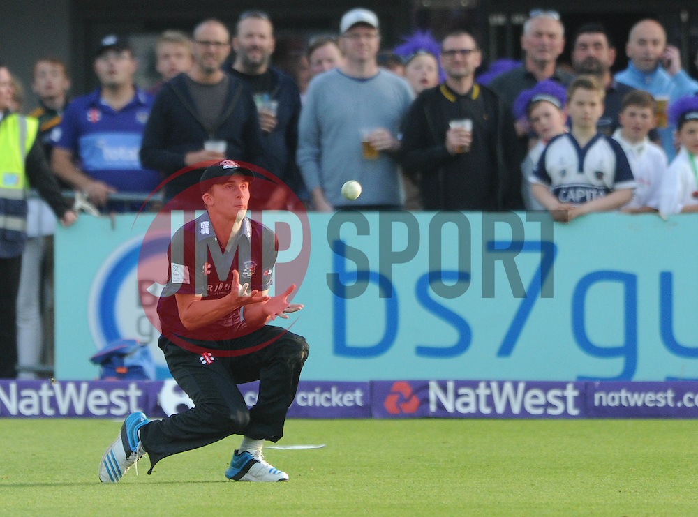 Craig Miles of Gloucestershire catches out Tom Cooper of Somerset for 14 - Photo mandatory by-line: Dougie Allward/JMP - Mobile: 07966 386802 - 19/06/2015 - SPORT - Cricket - Bristol - County Ground - Gloucestershire v Somerset - Natwest T20 Blast
