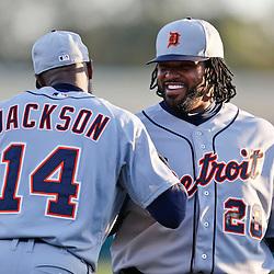Mar 7, 2013; Lake Buena Vista, FL, USA; Detroit Tigers first baseman Prince Fielder (28) and center fielder Austin Jackson (14) before a spring training game against the Atlanta Braves at Champion Stadium. Mandatory Credit: Derick E. Hingle-USA TODAY Sports