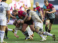 Joe Marler tries to muscle over the line, Harlequins v Cardiff Blues in a European Challenge Cup match at Twickenham Stoop, Twickenham, London, England, on 17th January 2016