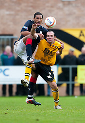 Falkirk's Rhys Bennett and Scott Gibson..Annan Athletic 0 v 3 Falkirk. Semi Final of the Ramsdens Cup, 9/10/2011..Pic © Michael Schofield.