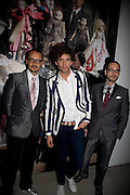 ROLF SNOEREN, MIKA, VIKTOR HORSTING.  The private view of exhibition 'The House of Viktor & Rolf', at The Barbican Gallery.  London.  June 17 2008. *** Local Caption *** -DO NOT ARCHIVE-© Copyright Photograph by Dafydd Jones. 248 Clapham Rd. London SW9 0PZ. Tel 0207 820 0771. www.dafjones.com.