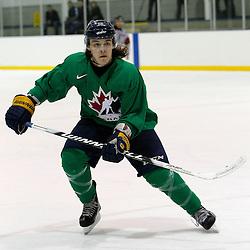 OAKVILLE, ON - Oct 28 : 2013 World Junior A Challenge / Defi Modial Junior A 2013. Taylor Best #9 of Team Canada East, Team Green / d'Équipe Canada Est, l'équipe Vert.<br /> (Photo by Tim Bates / OJHL Images)