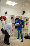 SEAMUS FAHY; PHILIP TREACY; , Philip Treacy to create Bespoke Voltaire Daimonds ring collection. Philip Treacy showroom. London. 19 July 2012.