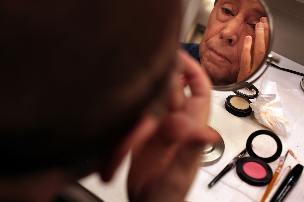 "Actor Brian Bedford transforms into ""Lady Bracknell"" for The Importance of Being Earnest at the American Airlines Theatre in New York, NY on February 2, 2011."