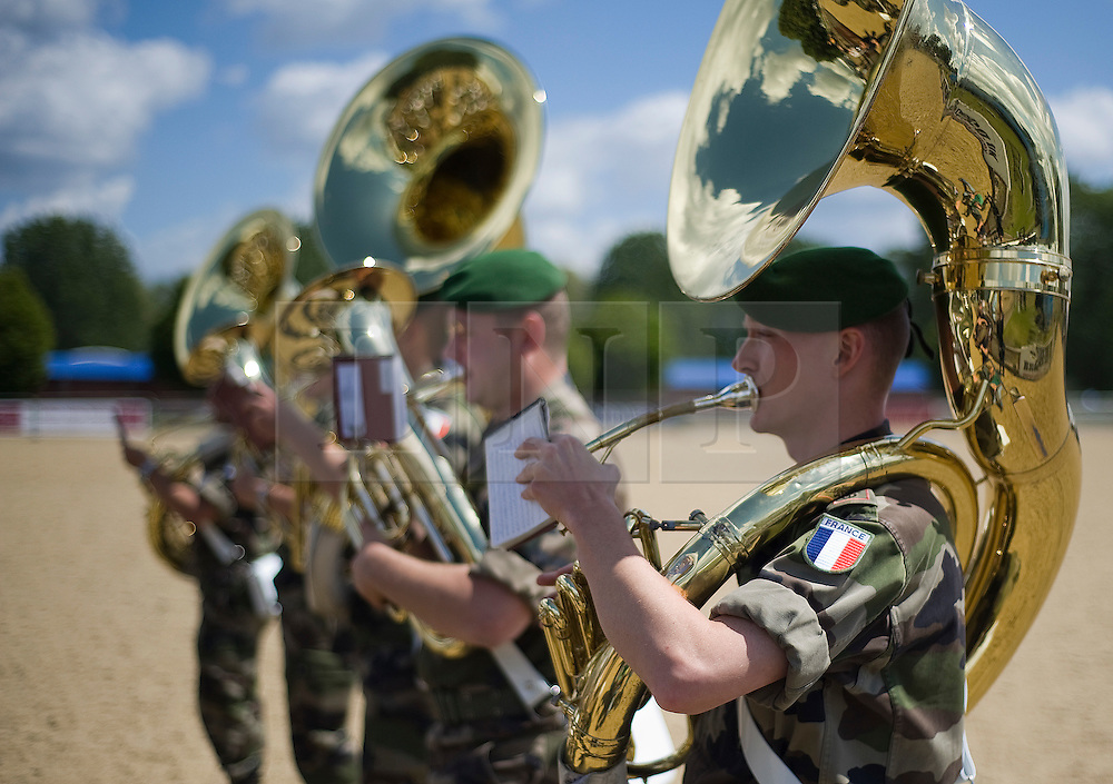 © licensed to London News Pictures. 10/05/2011. Windsor, UK.  The French Foreign Legion band rehearsing for The Royal Tattoo at Windsor Castle today (09/05/2011) which opens for its first Show on Thursday 12th May. For the very first time, 250 French Troops from the French Army, Navy, Air Force and Gendarmerie will be performing at The Tattoo alongside the very best of the British Military. Please see special instructions for usage rates. Photo credit should read Ben Cawthra/LNP