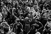 Crowd dancing on the street, Reclaim the Streets, Shepherd's Bush, London, July 1996