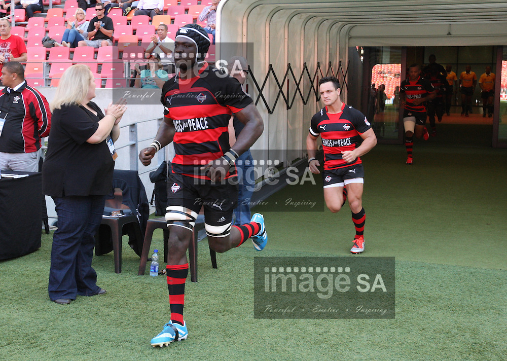 PORT ELIZABETH, SOUTH AFRICA - Saturday 25 April 2015, Tim Agaba of Eastern Province Kings runs out from the tunnel during the Vodacom Cup rugby match between Eastern Province Kings and SWD Eagles at the Nelson Mandela Bay stadium. <br /> Photo by Richard Huggard/ImageSA/SARU