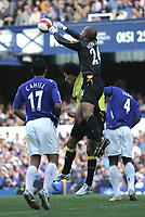 Photo: Andi Thompson.<br />Everton v Manchester City. The Barclays Premiership. 30/09/2006.<br />Everton Keeper TIm Howard beats Manchester City substitute Bernado Corradi to the ball