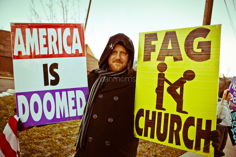 Steve Drain, member of the Westboro Baptist Church protesting in front of Congregation Kol Ami in Salt Lake City. A former documentary filmaker, he is not related to the Phelps family. He is in charge of WBC multimedia projects.