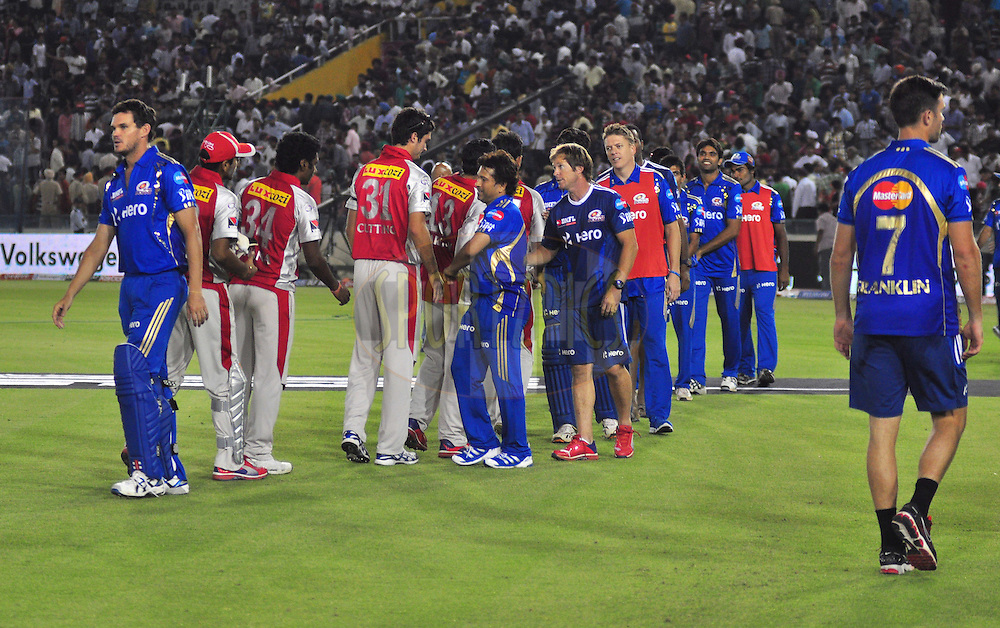 Kings X1 Punjab and The Mumbai Indians players meet each other after match during match 33 of the the Indian Premier League ( IPL) 2012  between The Kings X1 Punjab and The Mumbai Indians held at the Punjab Cricket Association Stadium, Mohali on the 25th April 2012..Photo by Arjun Panwar/IPL/SPORTZPICS