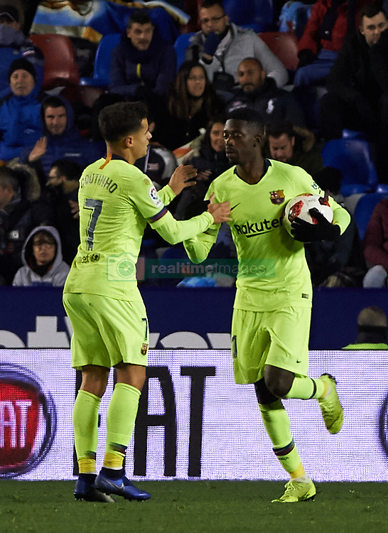 January 10, 2019 - Valencia, Valencia, Spain - Philippe Coutinho and Ousmane Dembele of FC Barcelona celebrates a goal during the Spanish Copa del Rey match between Levante and Barcelona at Ciutat de Valencia Stadium on Jenuary 10, 2019 in Valencia, Spain. (Credit Image: © Maria Jose Segovia/NurPhoto via ZUMA Press)