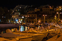 Piraeus, Greece. Boats in the Marina after sunset.