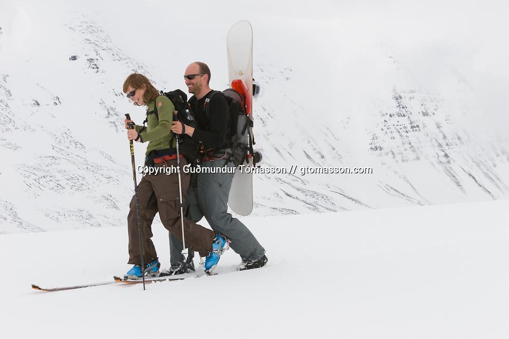 Helga Björt Möller and Óliver Hilmarsson ascending mt. Lambárhnjúkur 1027m. Hvalvatnsfjörður, Iceland.