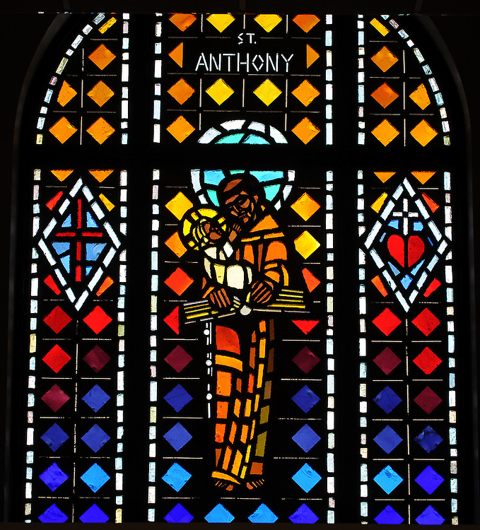 Stained glass image of St. Anthony from Allouez Cemetery in Green Bay. (Photo by Sam Lucero)