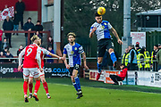 Blackburn Rovers Derrick Williams (3) heads the ball during the EFL Sky Bet League 1 match between Fleetwood Town and Blackburn Rovers at the Highbury Stadium, Fleetwood, England on 20 January 2018. Photo by Michal Karpiczenko.