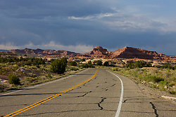 Road passing through The Needles District of Canyonlands National Park, south of Moab, Utah.