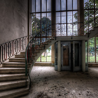 An abandoned staircase in East Germany