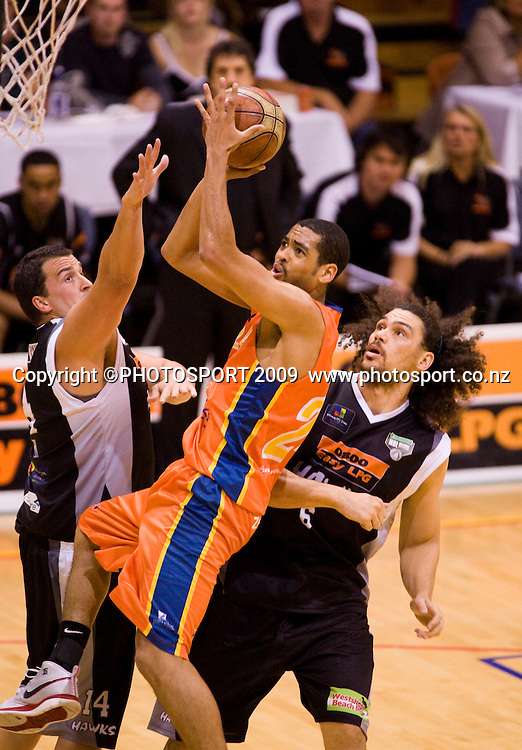 Shark's Rene Rougeau lays up two points. Hawkes Bay Hawks v Southland Sharks. National Basketball League. Pettigrew Green Arena, Napier, New Zealand. Friday 19 March 2010. Photo: John Cowpland/PHOTOSPORT