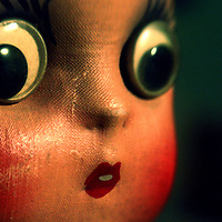 A toys face with large eyes