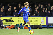 AFC Wimbledon striker Lyle Taylor (33) dribbling during the EFL Sky Bet League 1 match between AFC Wimbledon and Southend United at the Cherry Red Records Stadium, Kingston, England on 1 January 2018. Photo by Matthew Redman.