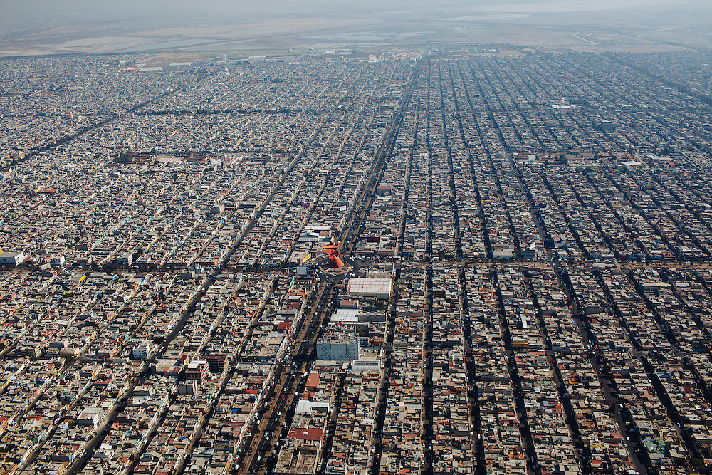 Aerial view of Ciudad Nezahualcoyotl where 1 million 110 thousand 565 people live in just 63 square kilometers, being the most populous municipality in Mexico, Ciudad Nezahualcoyotl, March 17, 2011.