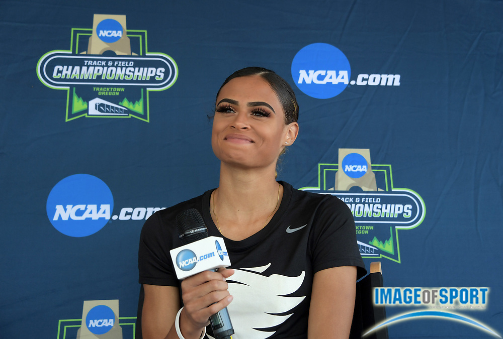 Sydney McLaughlin of Kentucky during a press conference prior to the NCAA Track and Field championships in Eugene, Ore., Tuesday, June 5, 2018.