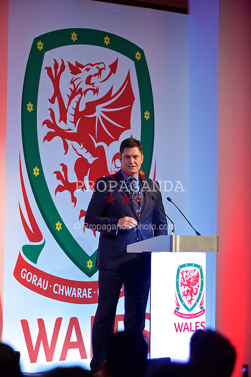 NEWPORT, WALES - Friday, May 20, 2016: Welsh Football Trust Chief-Executive Neil Ward during the Football Association of Wales' National Coaches Conference 2016 at the Celtic Manor Resort. (Pic by David Rawcliffe/Propaganda)