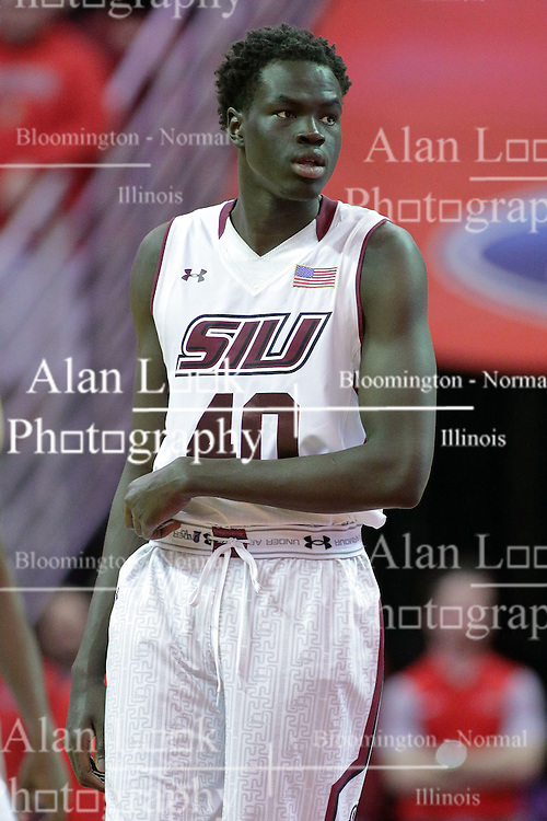 22 February 2017:  Thik Bol during a College MVC (Missouri Valley conference) mens basketball game between the Southern Illinois Salukis and Illinois State Redbirds in  Redbird Arena, Normal IL