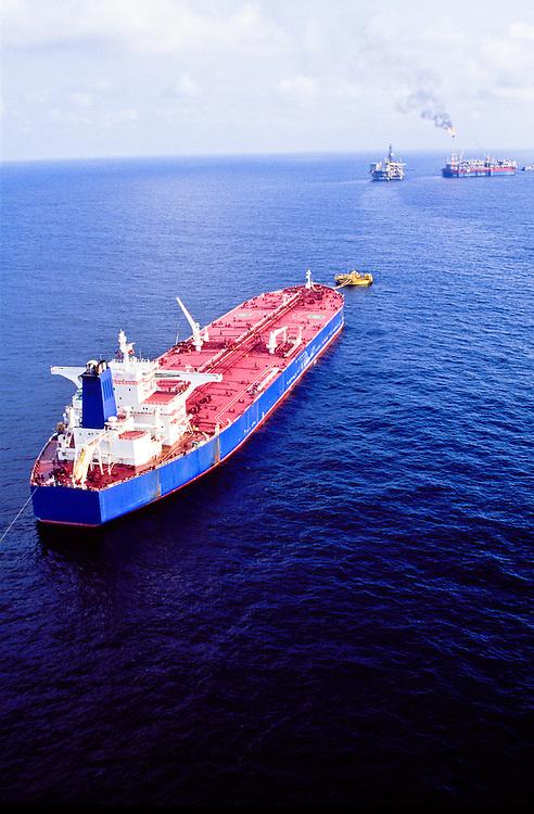 Super tanker loading at SPM bouy off Angola in South Atlantic.