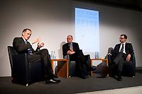 """28 FEB 2012, BERLIN/GERMANY:<br /> Bert Ruerup, Gruender und Vorstandsmitglied der MaschmeyerRuerup AG, Michael Sauga, Redakteur Der Spiegel, Dirk Heilmann, Chefoekonom Handelsblatt, (v.L.n.R.), Buchpraesentation """"Fette Jahre"""" von Ruerup und Heilmann, Deutsches Institut fuer Wirtschaftsforschung, DIW<br /> IMAGE: 20120228-01-028<br /> KEYWORDS: Buchvorstellung, Buchpräsentation, Bert Rürup"""