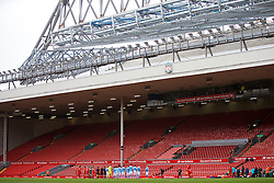 LIVERPOOL, ENGLAND - Sunday, February 7, 2016: Liverpool and Manchester City players line up in front of an empty Main Stand before the Under-21 FA Premier League match at Anfield. (Pic by David Rawcliffe/Propaganda)