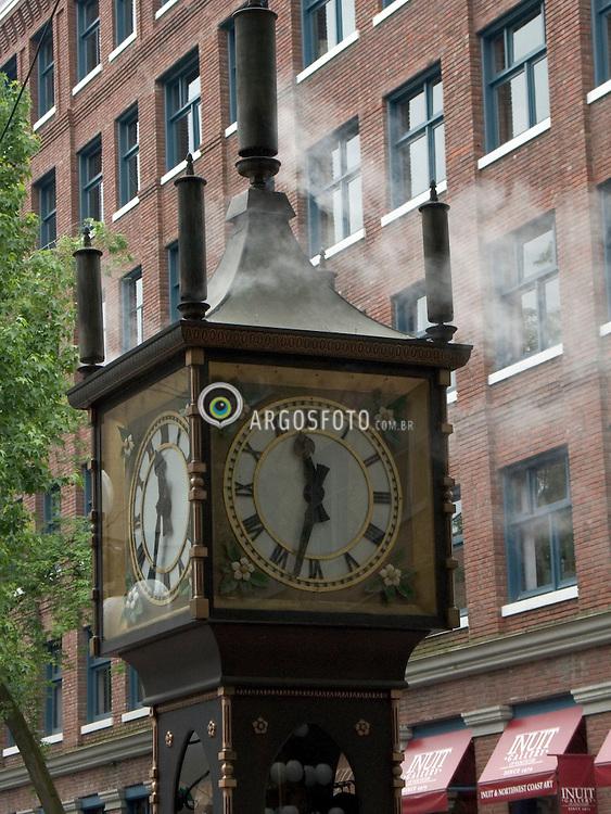 Vancouver, BC, Canada    29/maio/2005.Gastown, bairro historico aonde nasceu a cidade. Relogio a vapor./ Gastown, historical neighbourhood where the city originated. Steam Clock..Foto Marcos Issa/Argosfoto