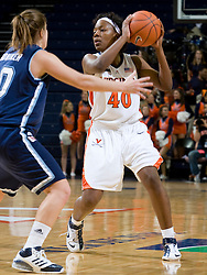Virginia guard Enonge Stovall (40) in action against Rhode Island.  The Virginia Cavaliers women's basketball team defeated the Rhode Island Rams 89-53 at the John Paul Jones Arena in Charlottesville, VA on January 9, 2008.
