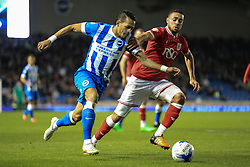 Brighton's Liam Rosenior under pressure from Bristol City's Derrick Williams - Mandatory byline: Jason Brown/JMP - 07966 386802 - 20/10/2015 - FOOTBALL - American Express Community Stadium - Brighton,  England - Brighton & Hove Albion v Bristol City - Championship